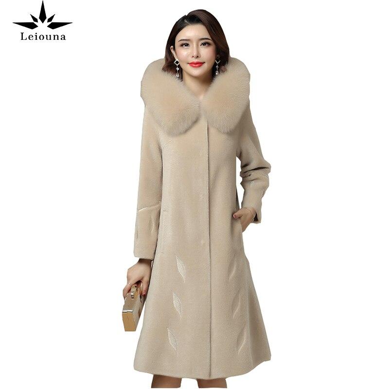 Leiouna, длинное пальто размера плюс, овечья шерсть, 2020, модная новинка, Женское зимнее пальто, норковая шерсть, средняя теплая куртка с капюшоно...