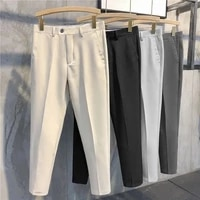 summer nine point ice silk trousers korean trend slim drop casual pants feet nine point pants wide leg pants pockets