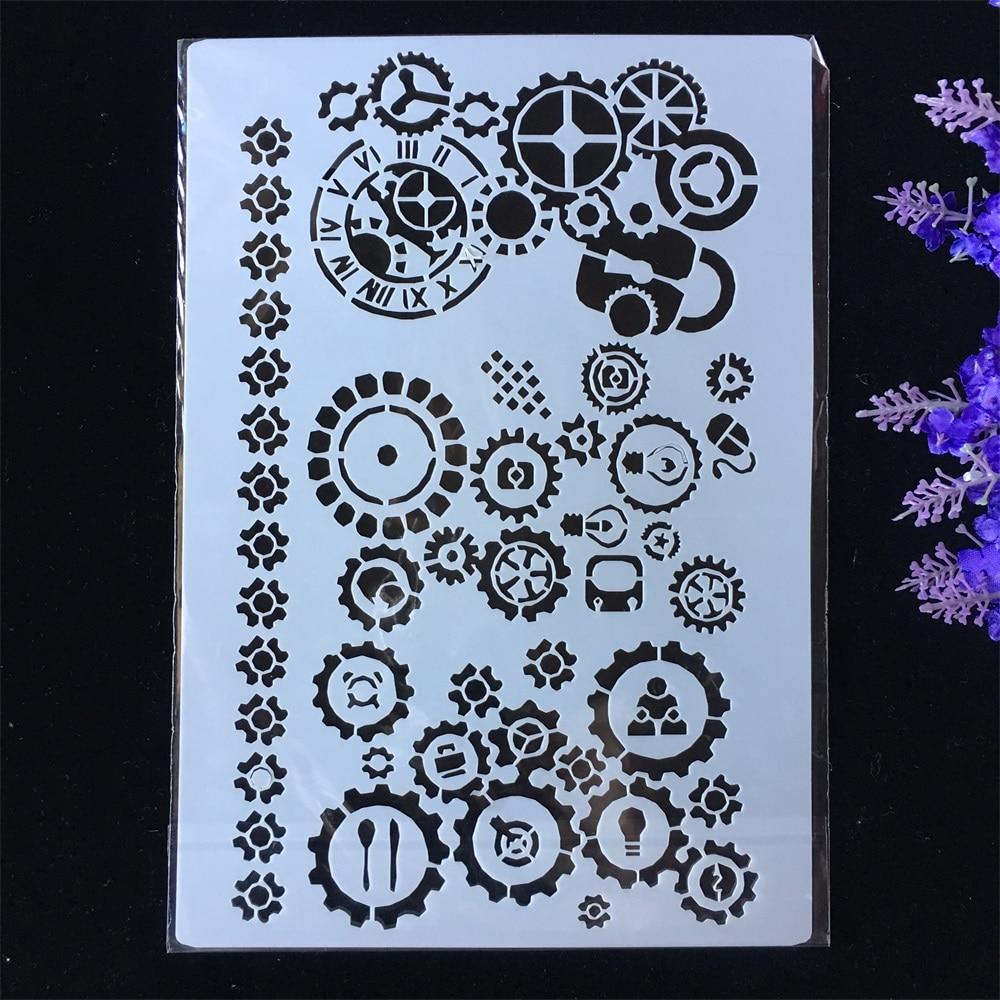 New Gear Wheel DIY Layering Stencils Painting Scrapbook Coloring Embossing Album Decorative Paper Card Template