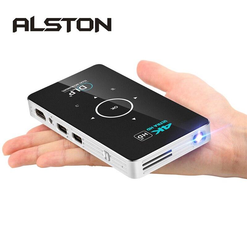 Alston c6 mini 4k dlp android projetor wifi bluetooth 4.0 portátil de vídeo em casa cinema suporte do telefone móvel miracast airplay