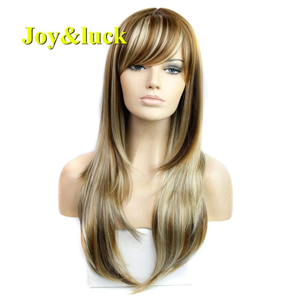 Alegria & sorte peruca reta longa mistura marrom loira perucas sintéticas para mulher fibra de alta temperatura completa peruca cosplay ou peruca de cabelo diário