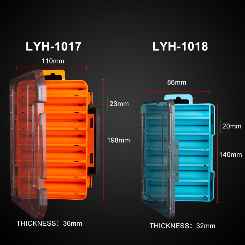 Kingdom Plastic Fishing Box  12  14 Compartment High Strength Double Sided Bait  Fishing Accessories Storage Fishing Tackle Box enlarge
