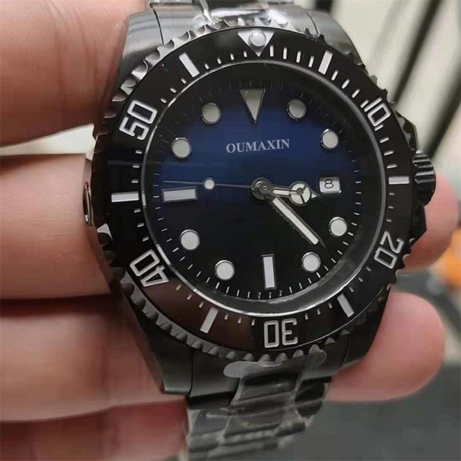 44mm men's watch automatic mechanical sapphire glass gradient blue-black dial men's clock