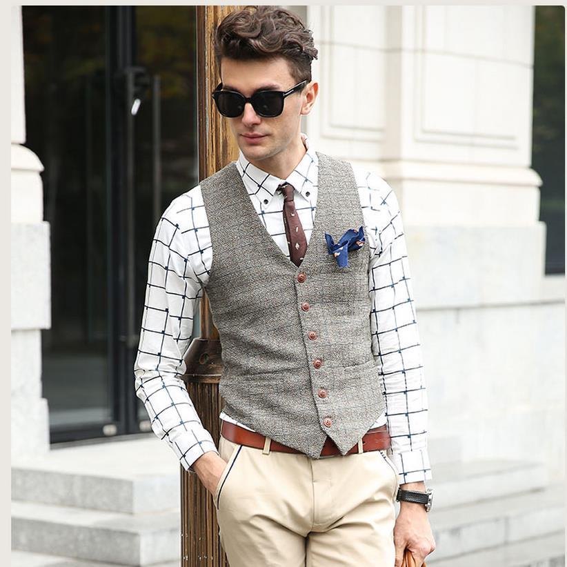 Showersmile xadrez terno colete masculino jaqueta sem mangas gilet clássico tweed estilo britânico fino ajuste inverno outono plus size colete