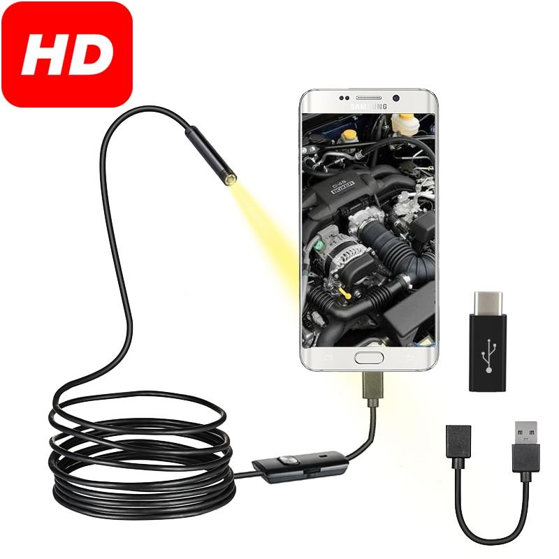 7 мм эндоскоп камера Гибкая IP67 Водонепроницаемый 6 Регулируемых светодиодов осмотр бороскоп камера Micro USB OTG Тип C для Android PC