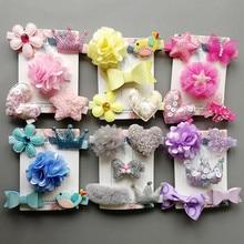 5pcs/lot Flower Girls Hair Clip Set Bow Hair Heart Barrettes Crown PU Leather Glitter Animals Headwear Kids Hairpin Star Clips