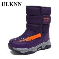 ulknn childrens snow boots winter cotton padded shoes kids waterproof footwears thick plus velvet warm girls boys casual rubber
