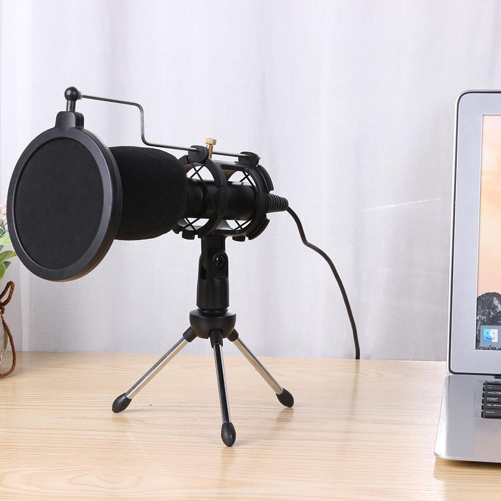 Micrófono condensador USB micrófono estudio Mic con soporte plegable trípode filtro esponja para PS4 juego ordenador