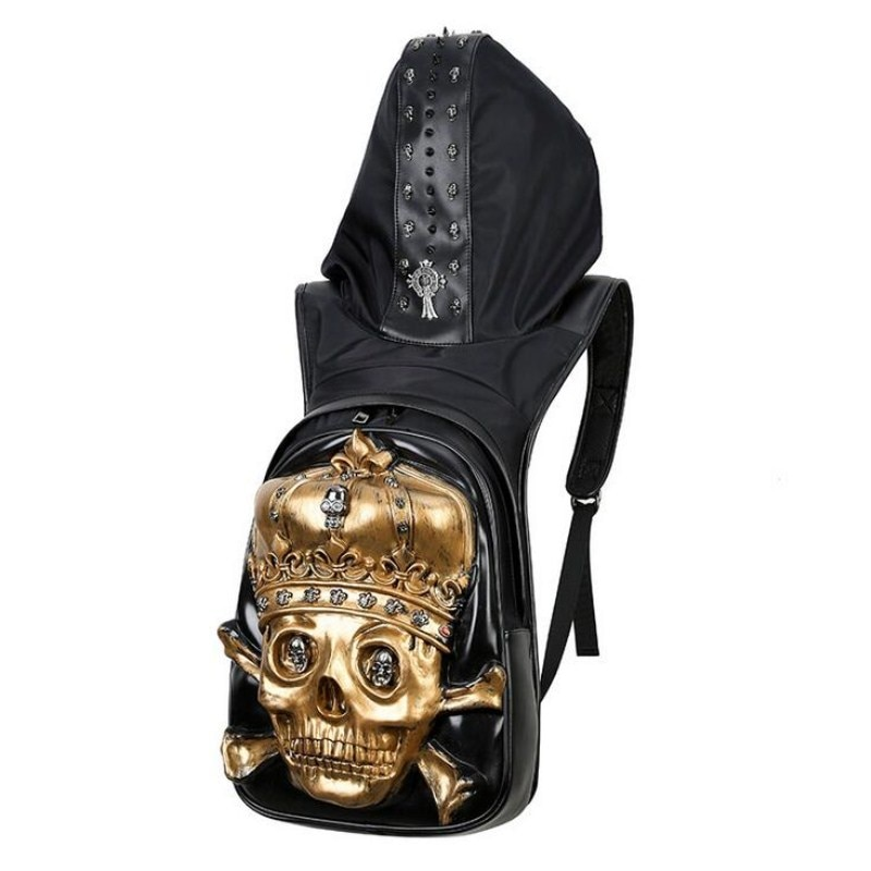 3D PU Leather Hooded Backpack Rivets Skull Bag with Hood Cap Punk Gothic style for Men Teenager нож buck hood punk микарта