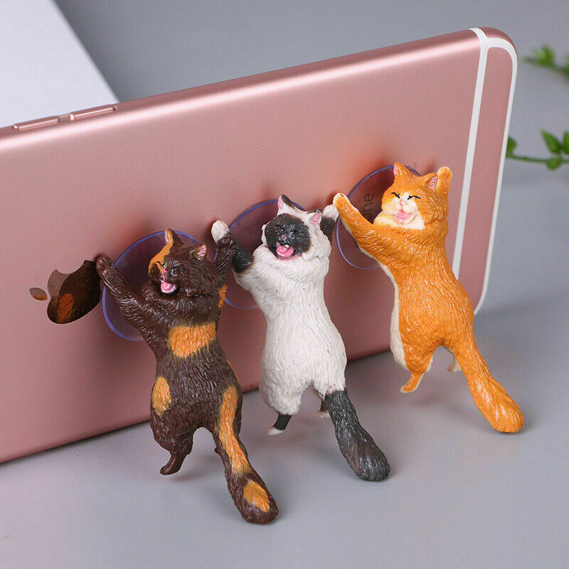 PVC Cute Cat Cell Phone Holder Tablets Desk Car Stand Mount Sucker Bracket Mobile Phone Racks Storage Holders Gadgets Home Decor