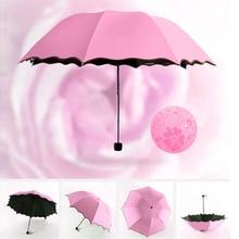 Magic Flower Simple Fashion Dome Ultraviolet-proof Sun Rain Folding Rain Clear Umbrellas Kids Women Sunscreen Windproof Umbrella