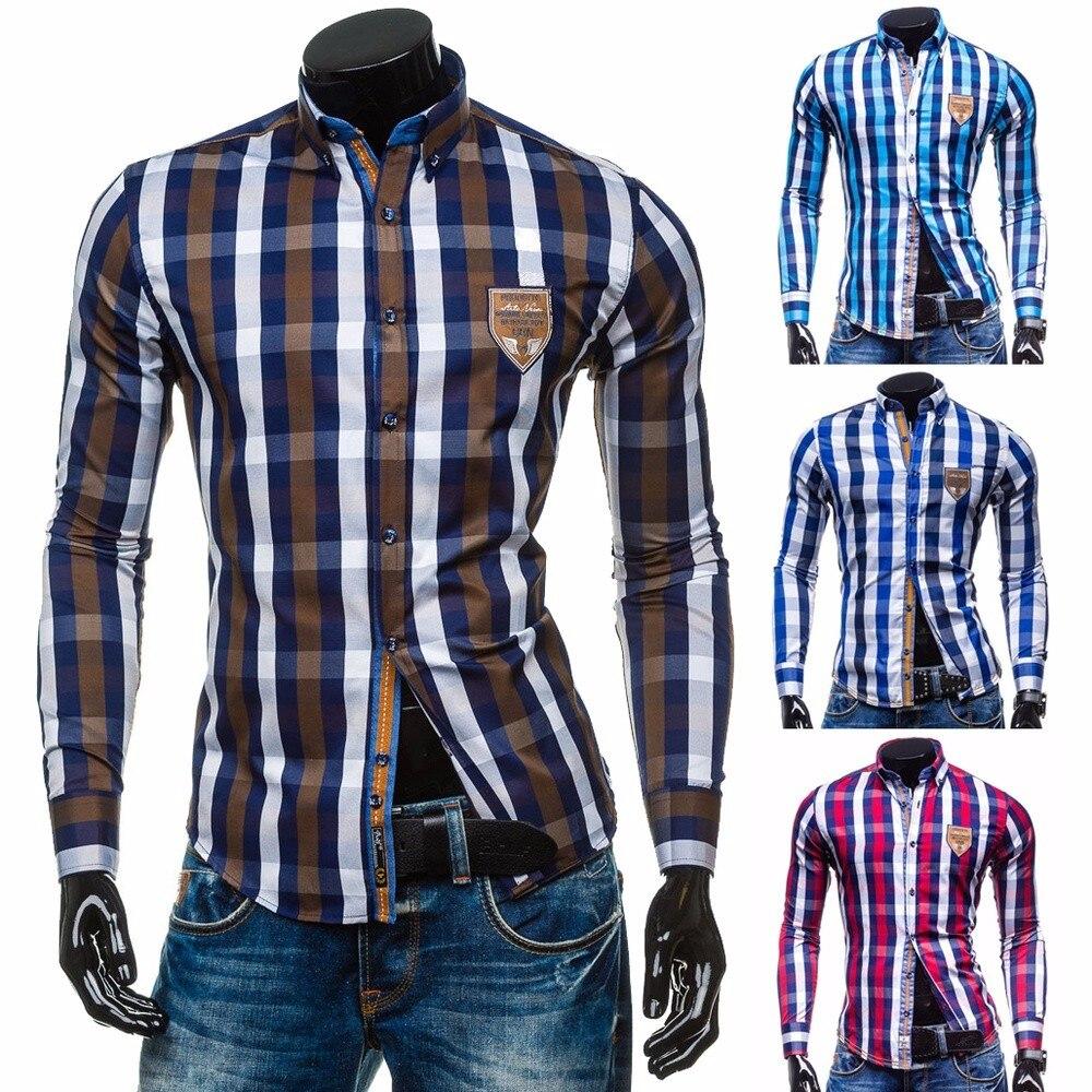 Мужские рубашки с длинным рукавом ZOGAA, цветные рубашки в клетку