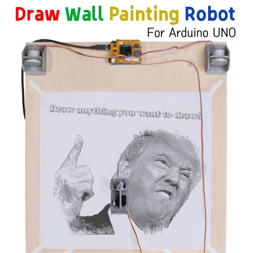 درابوت لاردوينو UNO R3 لتقوم بها بنفسك عدة رسم خط الراسمة طلاء جدران روبوت الجذعية معدات صانع مشروع ثلاثية الأبعاد المطبوعة أجزاء لعبة طفل