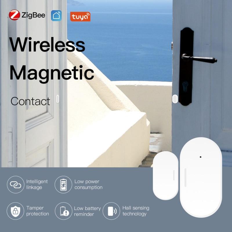 Tuya Zigbee Door Window Sensor Small Smart Home Magnetic Garage Door Opening Sensor System Alarm Gate Open   Close Detector