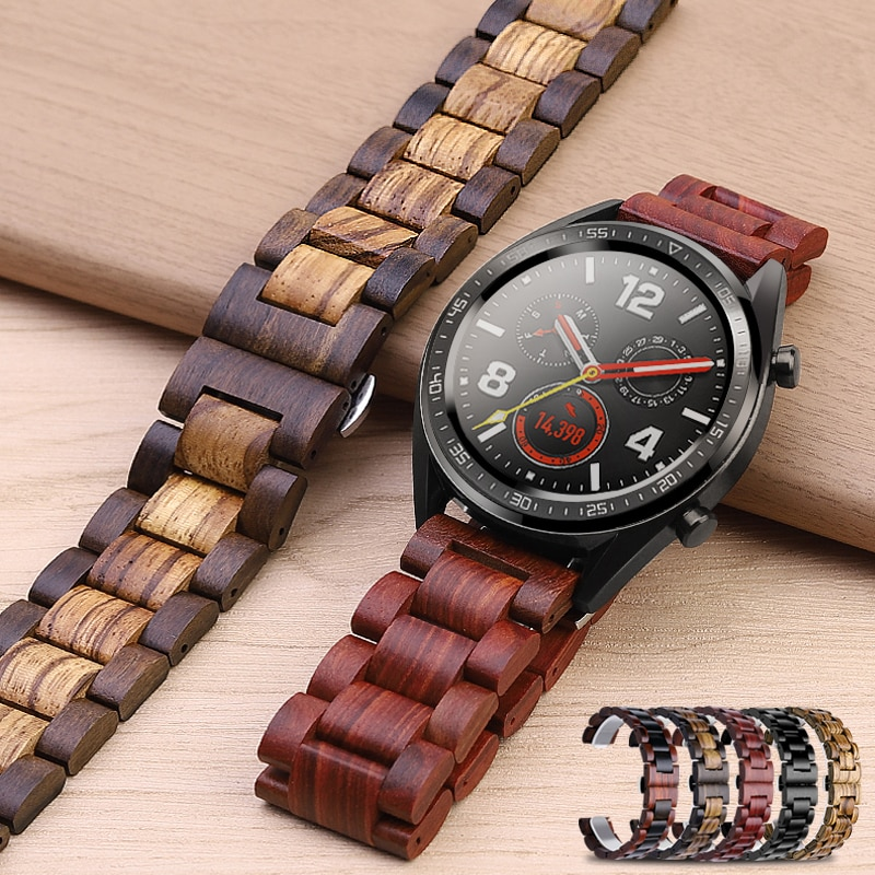 20mm 22mm Wood Watch Band for Huawei Watch GT / Galaxy 42/46mm Stainless Steel Strap Replacement Bra