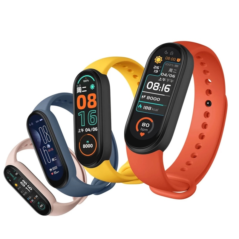 For Xiaomi Mi Band 6 Sport Wristband Heart Rate Fitness Tracker Bluetooth-compatible AMOLED Screen Smart Band With 5Color