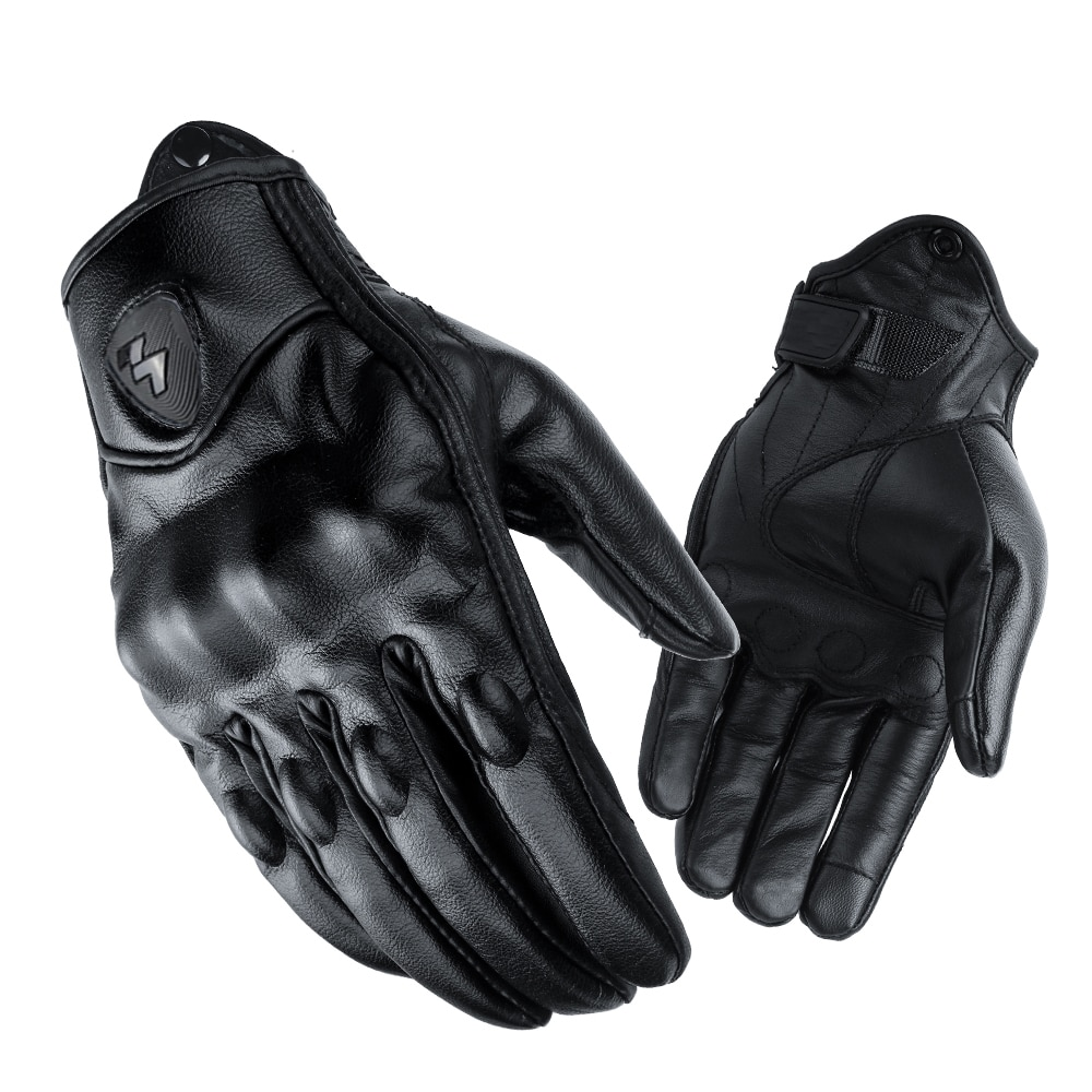 Retro Winter Warm Perforated Real Leather Windproof Women Men Motorcycle Gloves Moto Protective Gears Motocross enlarge