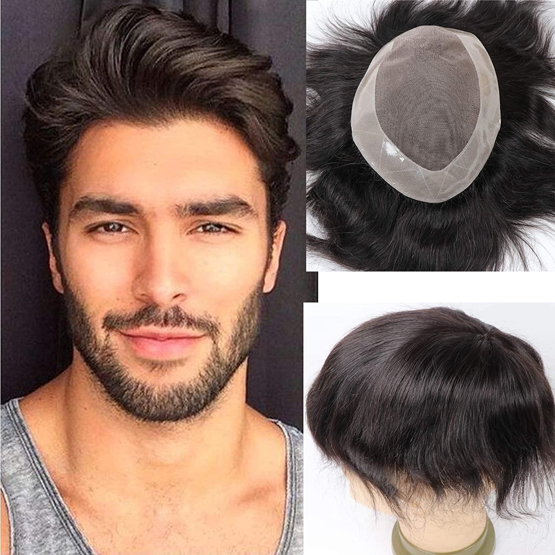 Human Hair Toupee for Men Hair Unit Wigs for Men Mono Lace Men's Wigs Man Toupee Hair Pieces Men 1B# Off Black Color 10x8