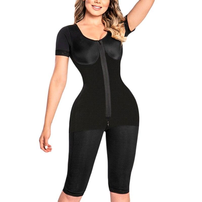 Full Body Flatten Abdomen Body Shaper With Short Sleeves High Waist Slimming Bodysuit Underwear bbl post op surgery supplies