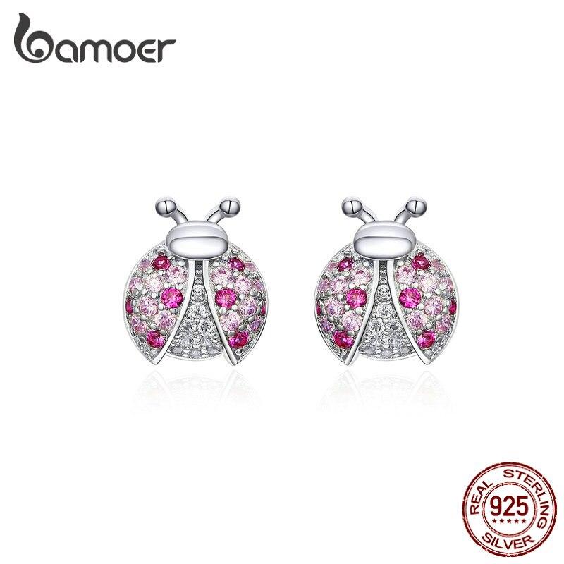 Pendientes de tuerca románticos bamoer Pink para mujer, pendientes de plata de ley 925 para niña pequeña, diseño Original SCE715