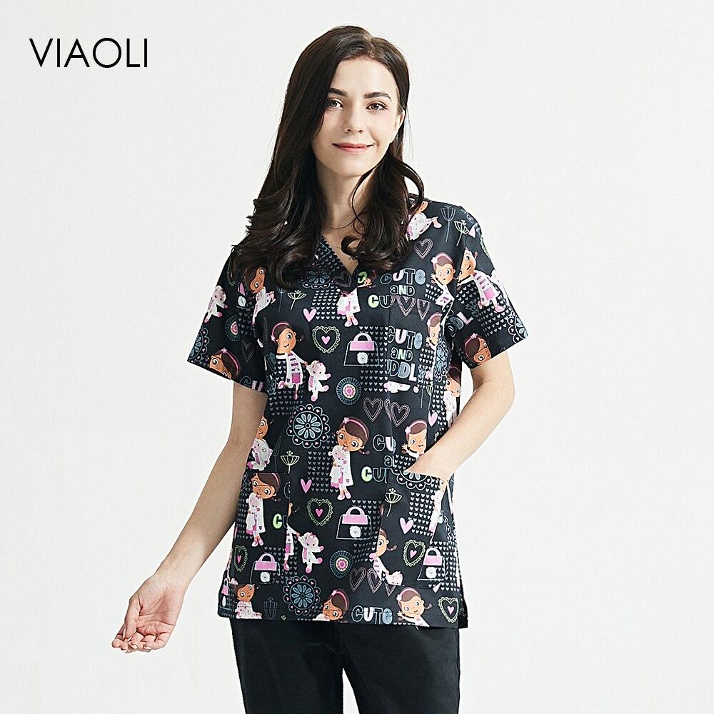 100% de algodón Unisex, conjuntos de esteticista, tops de verano con estampado de dibujos animados, trajes de Bata de manga corta con cuello en V, tops/pantalones de trabajo de laboratorio