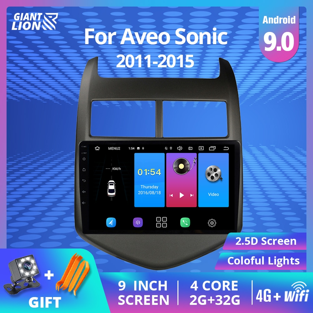 2DIN أندرويد 9.0 راديو السيارة Chevrolet أفيو سونيك 2011-2015 سيارة غس مشغل وسائط متعددة غس الملاحة دعم دفر مشغل ديفيدي