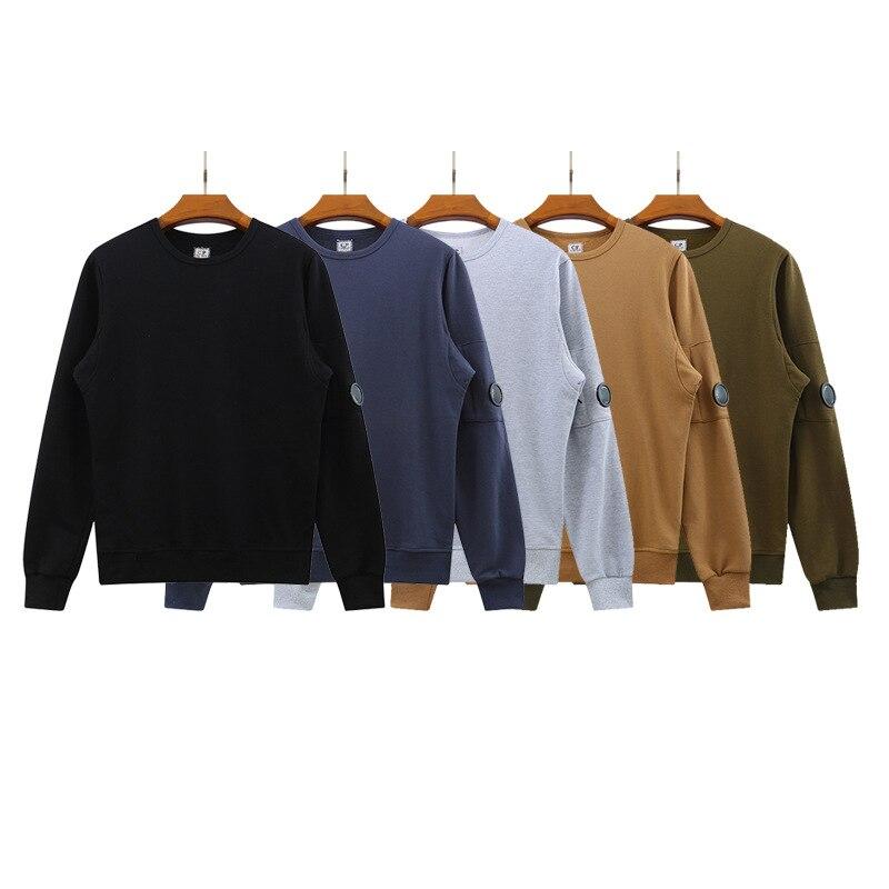 الخريف والشتاء جديد تيري الرقبة المستديرة الرجال بلوزة غير رسمية عدسة بلون قميص قاع الموضة