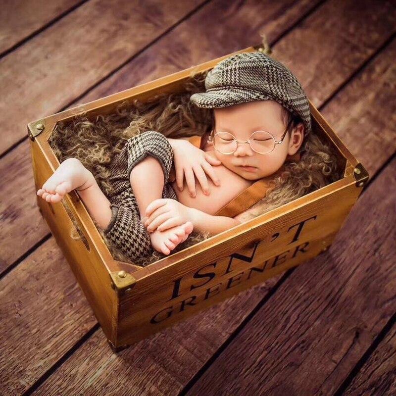 Accesorios de fotografía recién nacido 2019, conjunto nuevo de pantalones y sombrero largo, accesorios de traje a cuadros, conjunto para bebé pequeño Caballero
