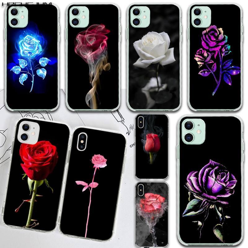 Funda de teléfono HPCHCJHM con flores rosas blancas y negras ostentosas para iPhone 11 pro XS MAX 8 7 6 6S Plus X 5S SE 2020 XR