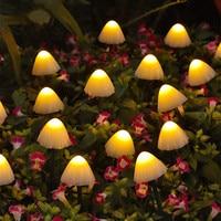 Светодиодная гирлянда на солнечной батарее 7 м, 50 светодиодный, садовосветильник украшение, светильник в виде грибов, садовая декоративная ...