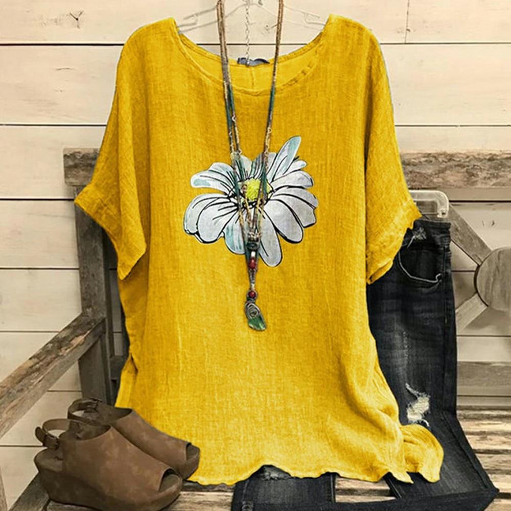 SHUJIN Daisy Print O Neck Women Blouses Summer 2020 Cotton Linen Loose Short Sleeve Shirt Women Plus Size Tops Blusas Feminina