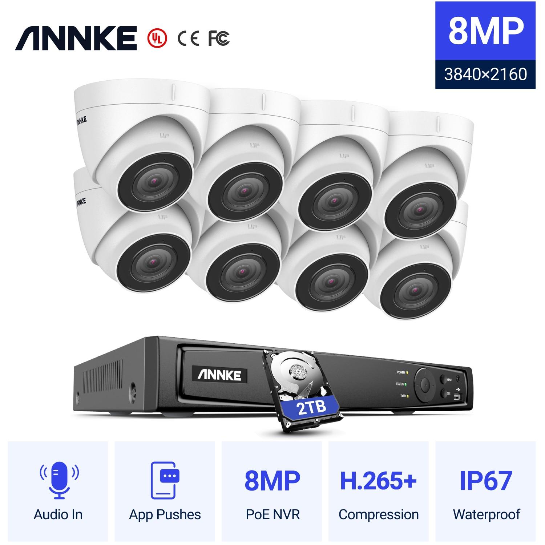 Anke 8CH 4K الترا HD POE شبكة نظام الأمن الفيديو 8MP H.265 + NVR مع 8 قطعة 8mp مانعة لتسرب الماء الصوت في IP كاميرا CCTV عدة