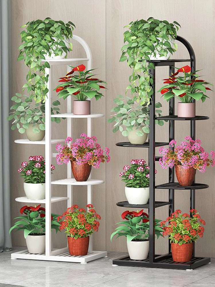 Outdoor Multi Tier Flower Plant Holder Home Indoor Display Rack Yard Garden Patio Balcony Wood Shelves Metal Plant Stand Black