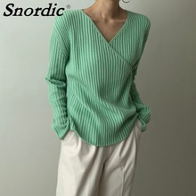 2021 Women Autumn Green V Neck Knitted Sweater Jacket Basics Pullover Jumpers Casual Knitting Tops