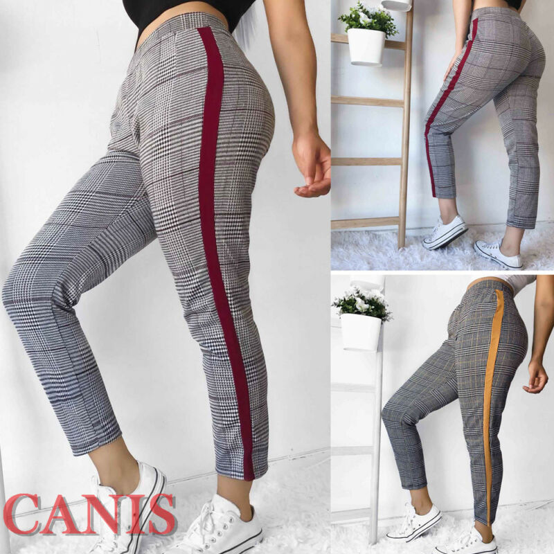 2019 moda nueva mujer otoño Casual alta cintura Plaid Skinny Plaid Pantalones Jeggings Stretch