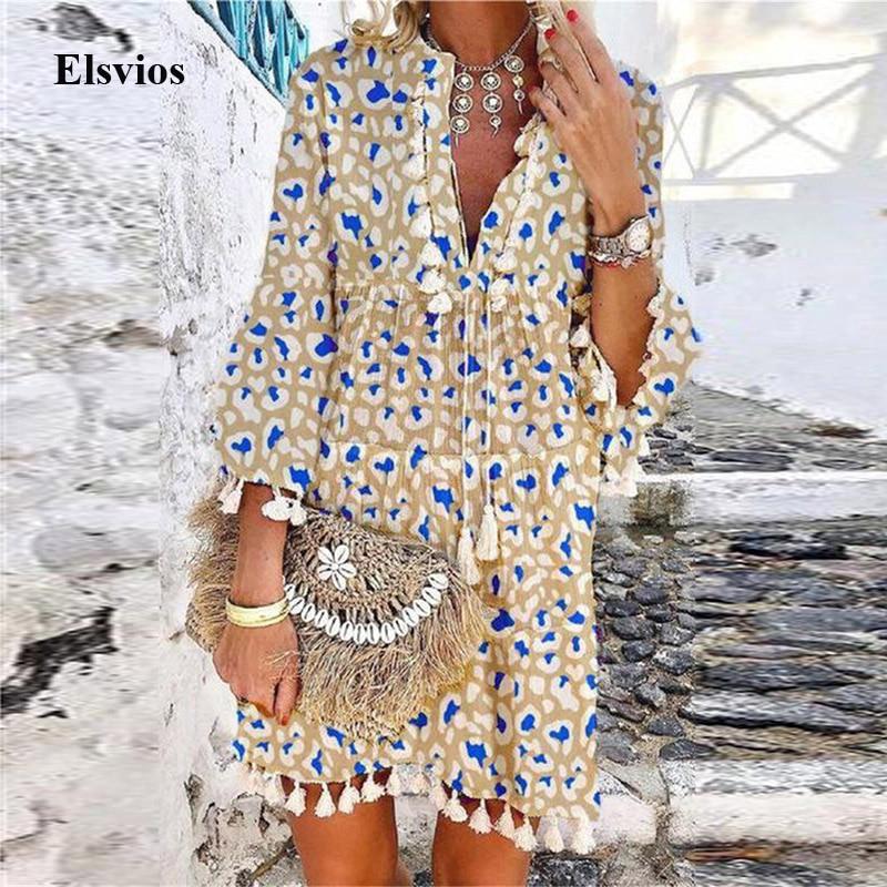 2021 Summer V Neck Tassel Beach Dress Spring Vintage Floral Print 3/4 Sleeve Party Dress Women Casual Loose A-Line Dress Vestido
