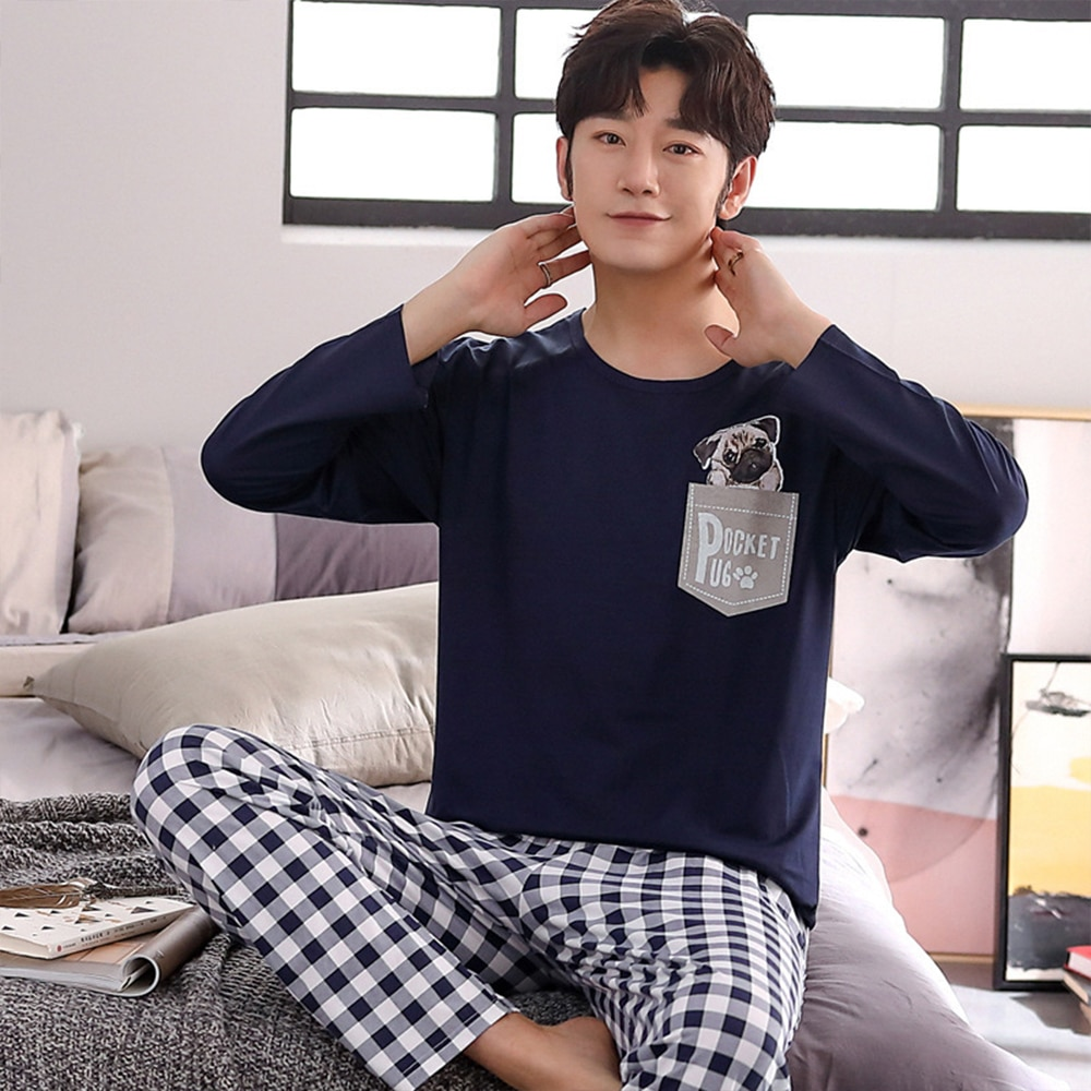 Sping Autumn Knitted Cotton Pajama Sets Men Casual Long Sleeve Cute Dog Print Pocket Plaid Pants Sleepwear Suit Pyjamas Homewear semir men slim fit suit pants cotton chinos pants with side pockets and back button pocket casual style for sping autumn