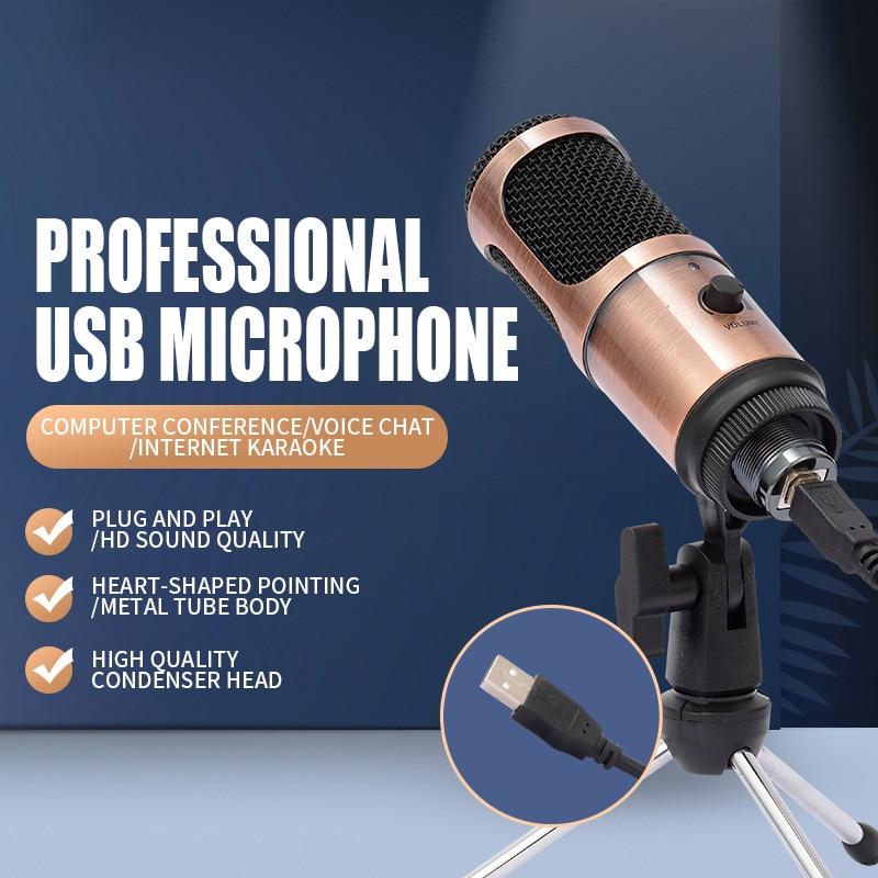 Micrófono podcast Professional nel, condensador USB, equipo para estudio de grabación, micrófono cardioide con soporte para ordenador portátil, micrófono de youtube