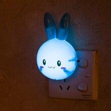 AC110-220V Led Nachtlicht Stecker Lampe Cartoon Kaninchen LED Licht Schalter Wand Nacht Lampe Auf Aus-Taste Für Baby Schlafen zimmer