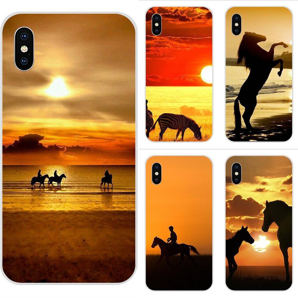 Teléfono Móvil de moda suave con caballo al atardecer de África para Huawei P7 P8 P9 P10 P20 P30 Lite Mini Plus Pro Y9 Prime P Smart Z 2018 2019