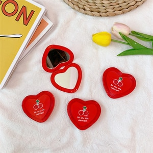 Make up mirror cute cherry Heart Mini mirror make up mirror double side portable mirror