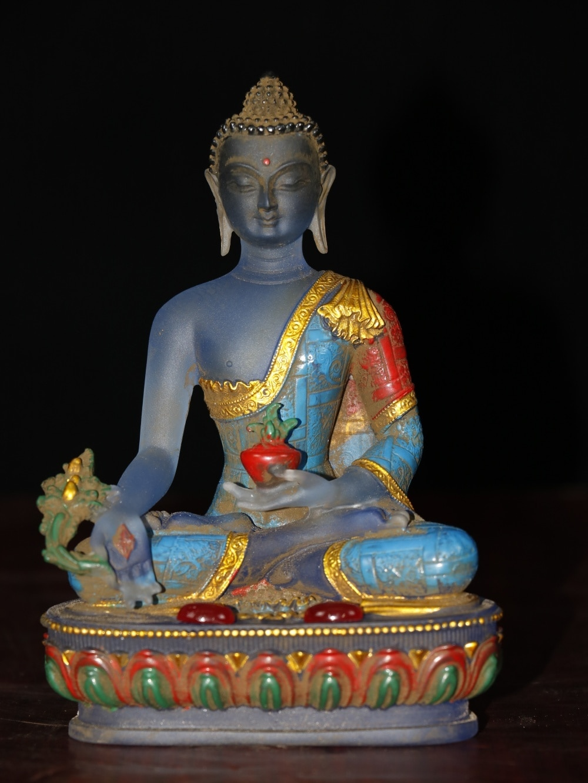 "6 ""templo do budismo do tibete antigo esmalte colorido pintado incrustado gemas shakyamuni buda estátua medicina buda consagra o buda"