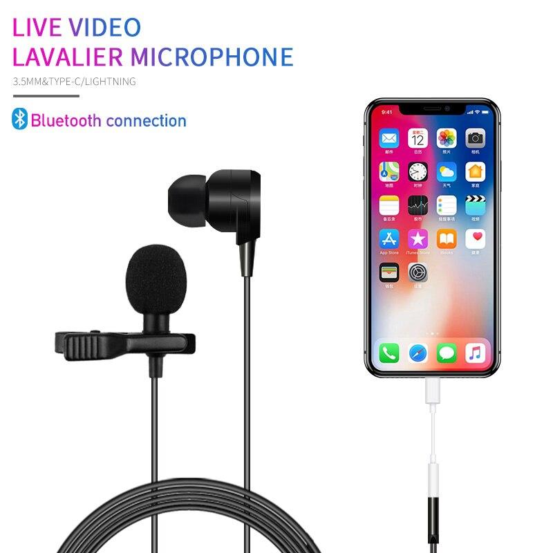 Auriculares omnidireccionales KATELEIYU de 3,5mm + Micrófono de grabación de teléfono lavalier mini solapa Bluetooth tiktok red transmisión en vivo