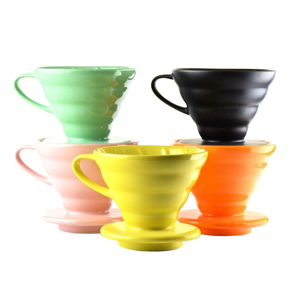 Ecocoffee cerâmica v60 café dripper casa barista brewer percolador 1-4 copos contados servindo filtro copo