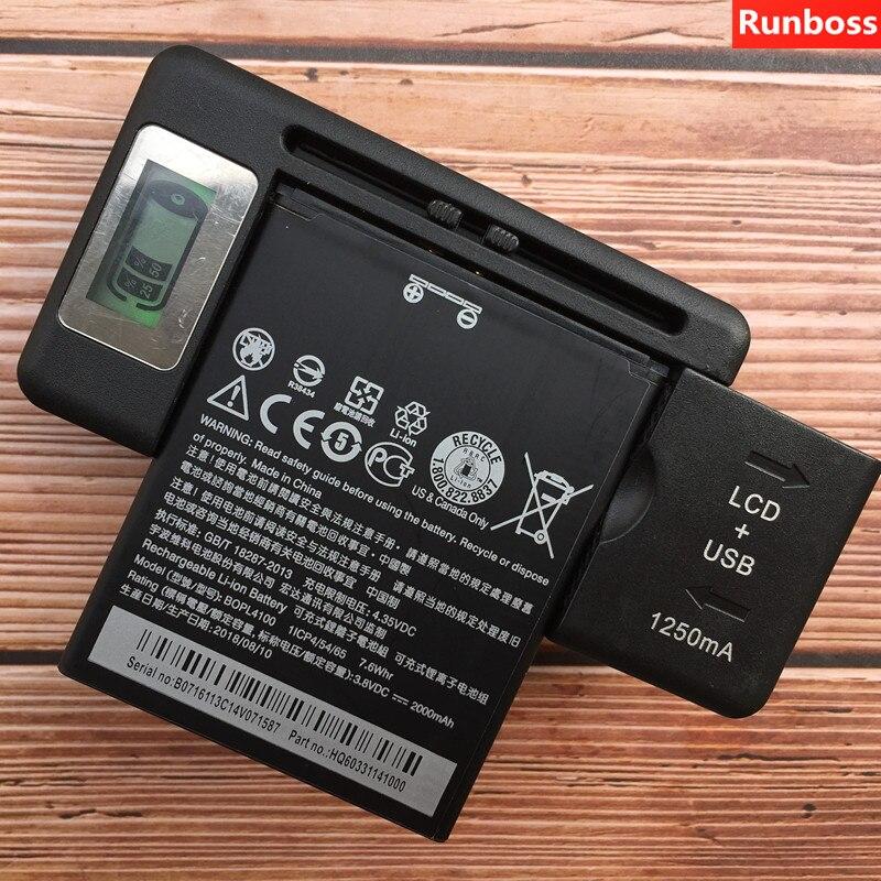 100% Original BOPM3100 BOPL4100 Runboss 2000mAh Bateria Para HTC Desire 526 526G 526G + Dual SIM D526h carregador de baterias Com LCD