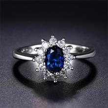 더블 공정한 로얄 클래식 웨딩 여성을위한 큰 반지 블루 & 레드 크리스탈 로즈 화이트 골드 컬러 약혼 패션 쥬얼리 DFR076