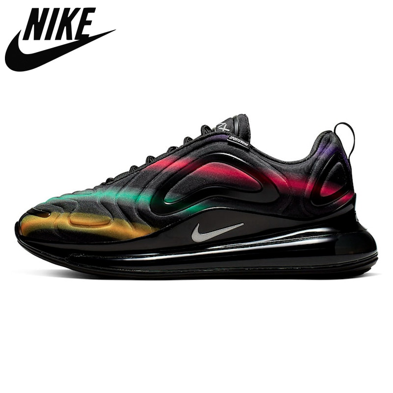 Air Max 720-818 new product leather woven full palm cushion comfortable running shoes Women's size 36-39 Black and white B