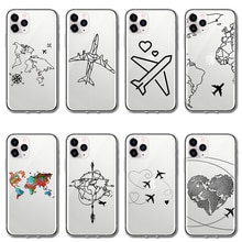 World Map Travel Airplane Clear TPU Phone Cover For iPhone 12 11 Pro X XR Xs Max 10 5 5S se 2 2020 6
