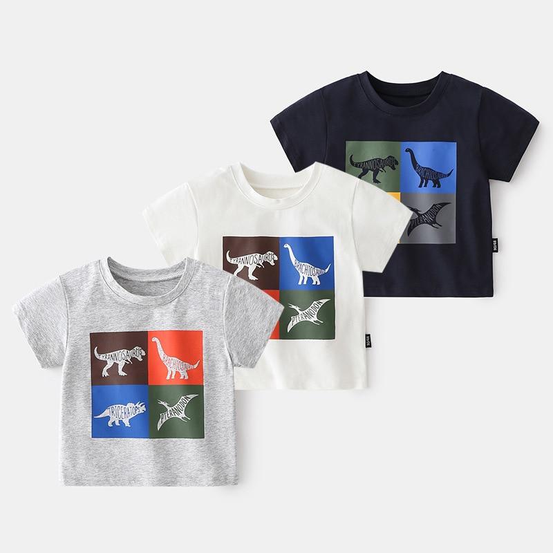 Summer T Shirt Boys Kids Clothes Cartoon Dinosaur T-shirt Short Sleeve Girls Tops Stripe Kid Clothes Cotton Baby Boy T Shirt