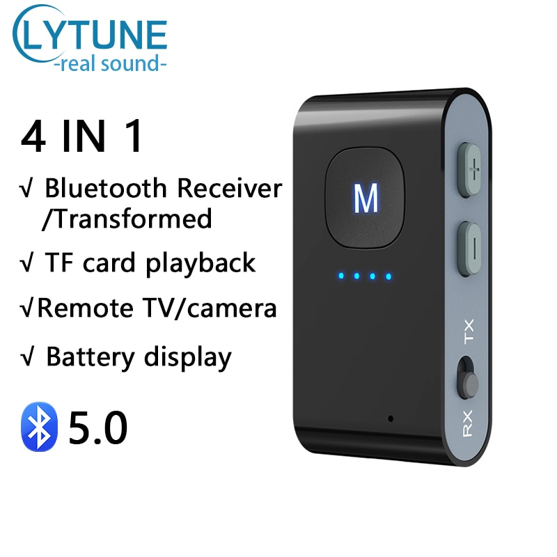 3in1 Bluetooth5.0 Transmitter Receiver Wireless Adapter Power Display Support TF Memory Card Dongle